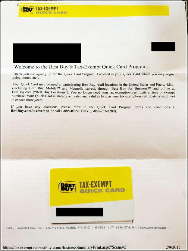 Best Buy Tax Exempt