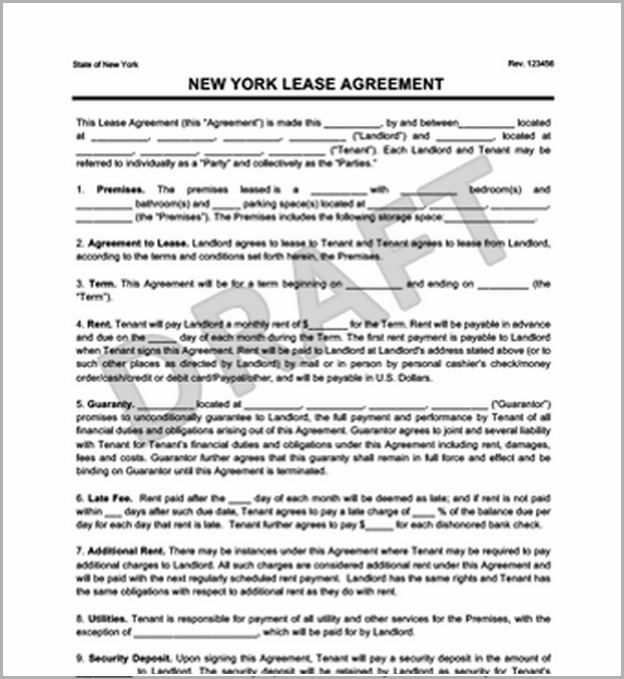 Blank Lease Agreement Ny
