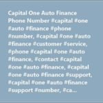 Capital One Auto Finance Contact Number
