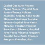 Capital One Auto Finance Customer Service Phone Number