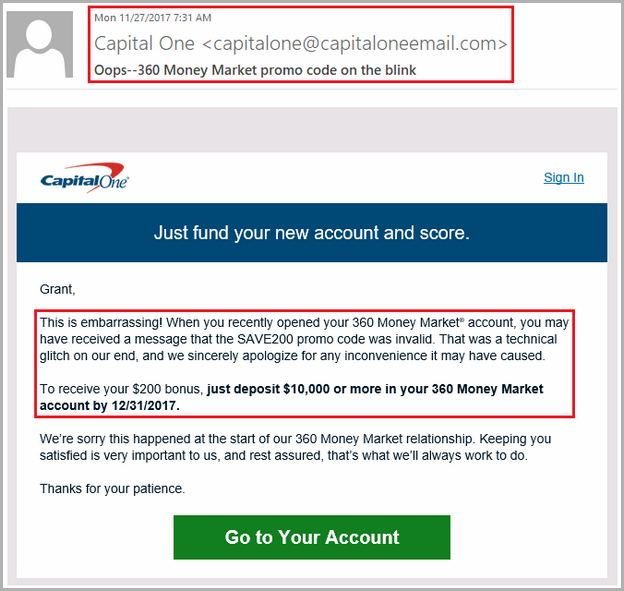 Capital One Money Market Bonus 2018
