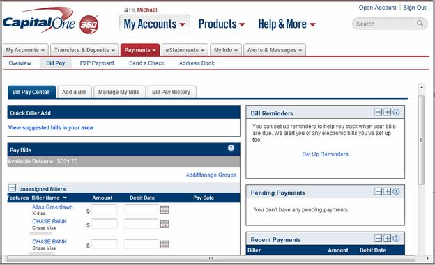 Capital One Pay My Bill Number