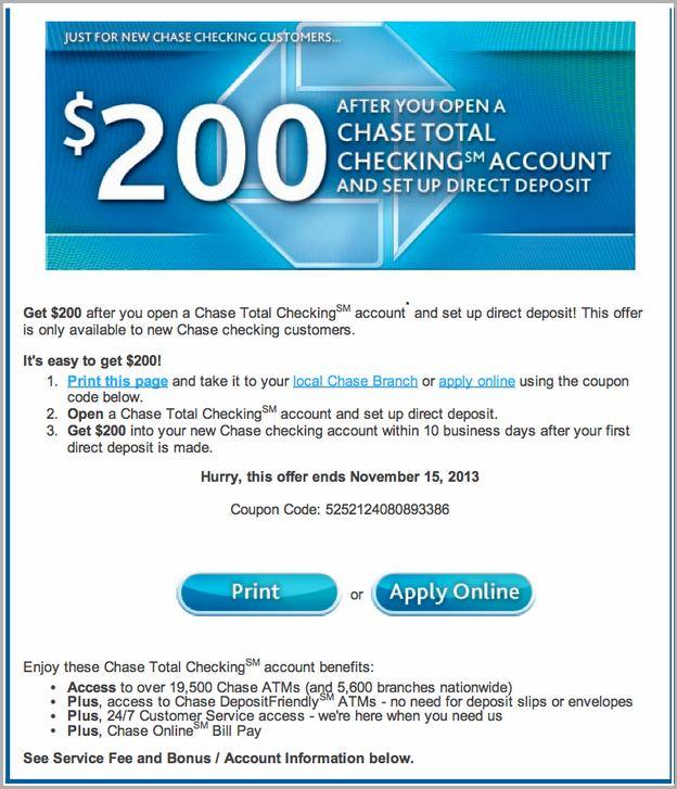Chase Premier Platinum Checking Coupon Code