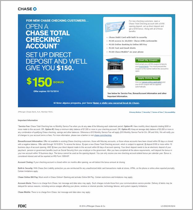 Chase Total Checking Account Bonus