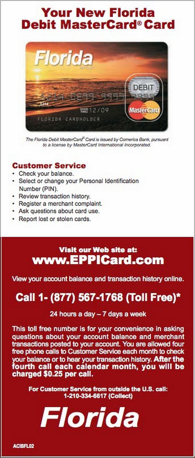 Child Support Card Balance Florida