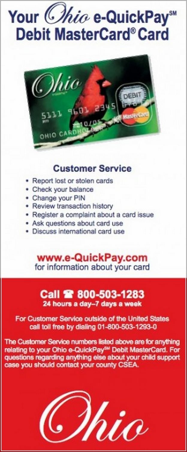 Child Support Card Balance Ohio