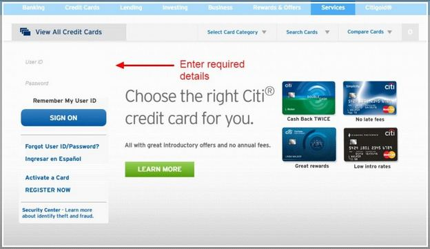 citibank credit card login business