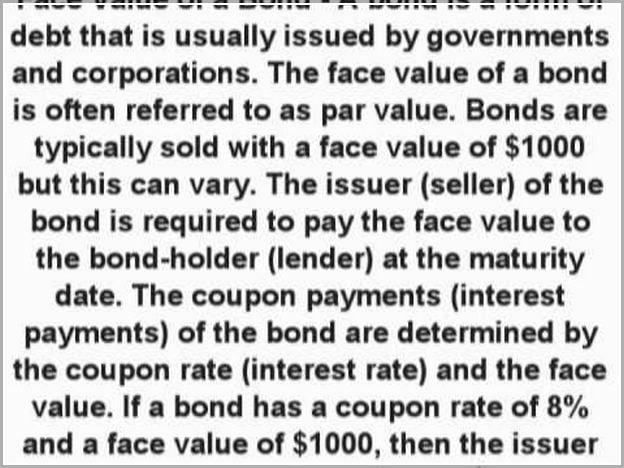 Face Value Definition Finance