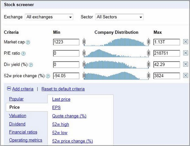 Google Finance Stock Screeners
