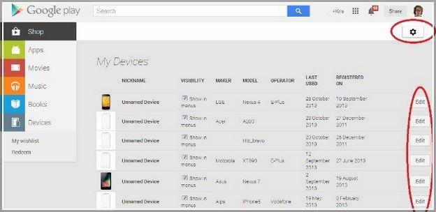 Google My Devices List