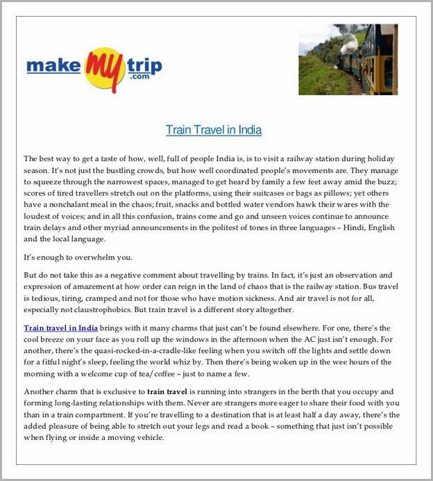 Make My Trip India Train