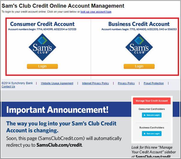 Sam's Club Business Credit Card Login