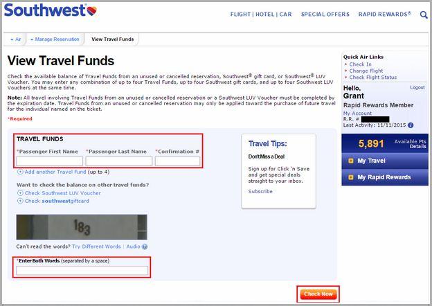 Southwest Travel Funds App