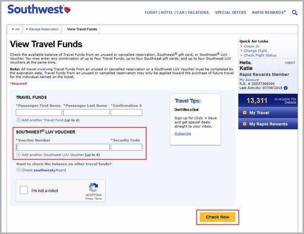 Southwest Travel Funds Usage
