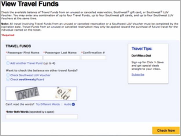 Southwest Travel Funds View