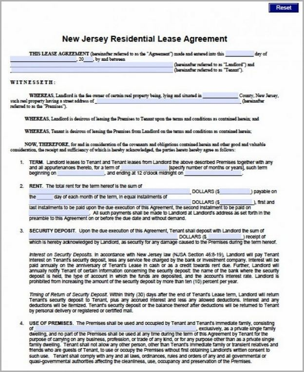 Standard Lease Agreement Nj