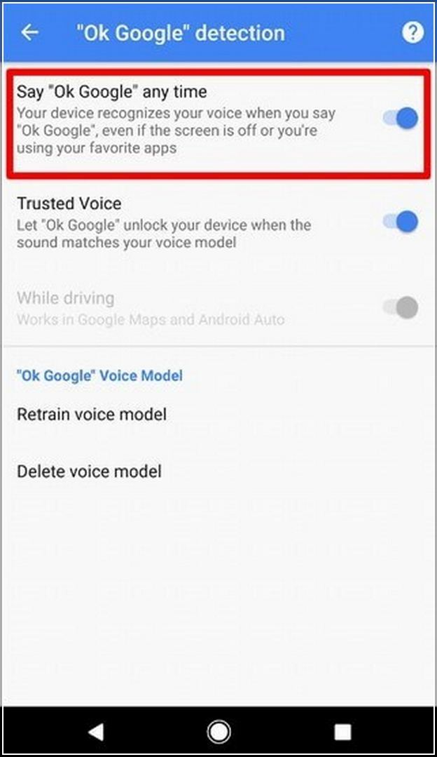 Turn Off Google Voice Android