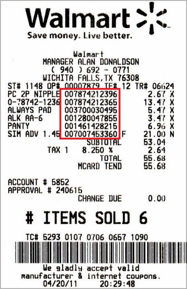 Walmart Receipt Item Number Search